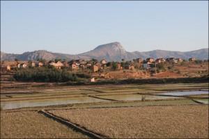 Paysage des Hauts Plateaux de Madagascar.