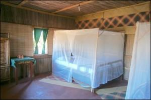 Les lits des hôtels et des bungalows plus sommaires sont quasiment tous équipés de moustiquaires
