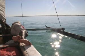 Le vent n'est pas toujours présent sur le lagon...!