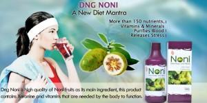 Publicité pour la vente du noni, fruit du morinda citrifolia.